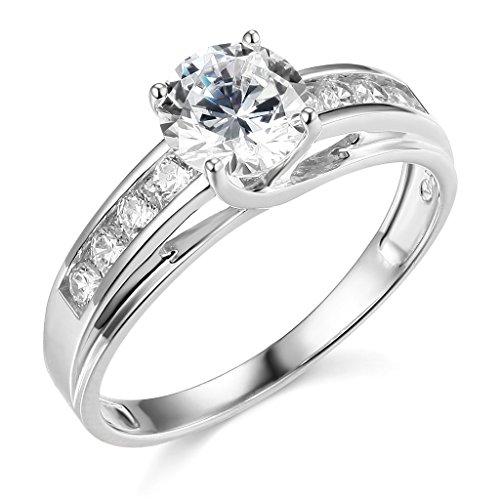 925 Sterling Silver Rhodium Plated Wedding Engagemen