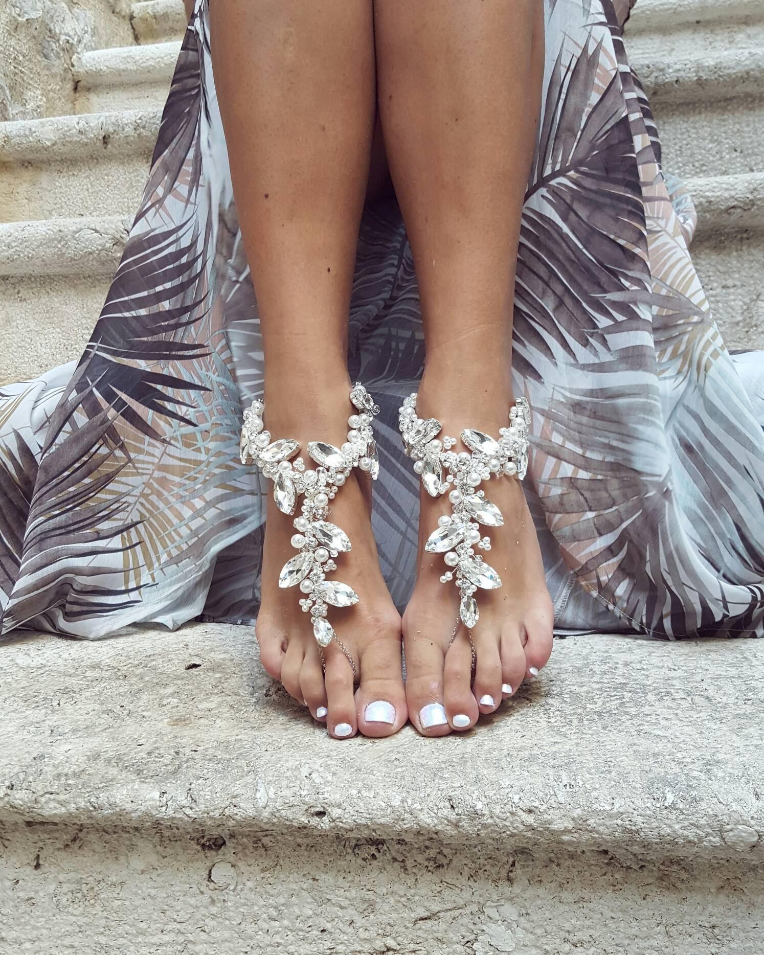beach wedding Sterling Silver Slave Anklet AN-202 Beach Style Silver Anklet wedding foot jewelry Barefoot Sandal